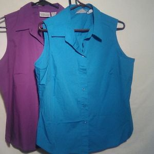Basic Edition purple/blue sleeveless button top.
